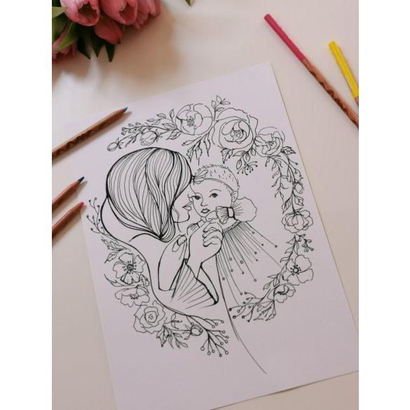 Felnőtt Színező - Babás- Anyukás