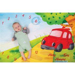 Hónaptakaró / Mérföldkő takaró- Piros autó - saját grafika