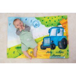 Hónaptakaró / Mérföldkő takaró- Kék Traktor - saját grafika