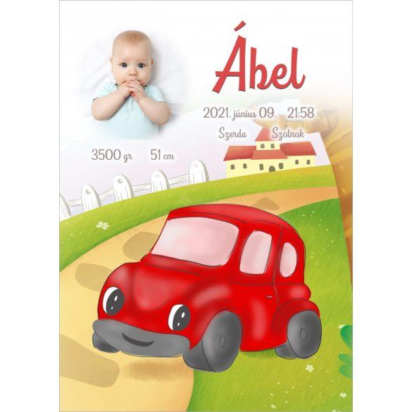 ÚJSZÜLÖTT BABATAKARÓ- Piros autó