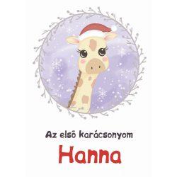 Karácsonyi mintás NEVES takaró- Zsiráf